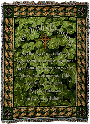 - Pure Country Weavers - Irish Blessing May the Road Rise Up to Meet You Poem Woven Tapestry Throw Blanket with Fringe Cotton USA Size 72 x 54