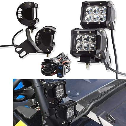 Xprite Side Pillar Light Custom Brackets for UTV Polaris XP RZR 1000 Models