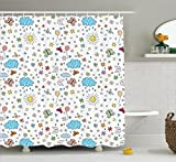 Ambesonne Home Decor Collection, Smiling Sun Moon Stars Clouds Flowers Butterflies Ladybugs Heart Shapes Children Art Print, Polyester Fabric Bathroom Shower Curtain Set with Hooks, Blue Yellow