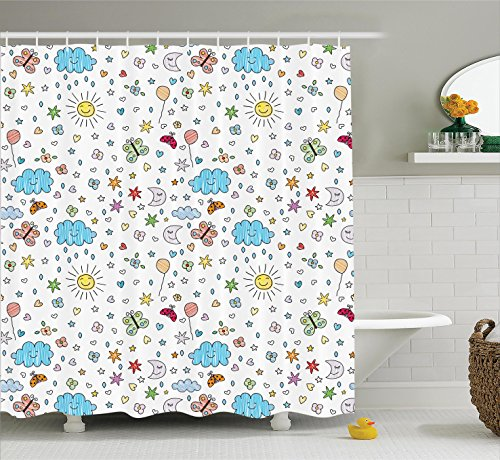 Ambesonne Home Decor Collection, Smiling Sun Moon Stars Clouds Flowers Butterflies Ladybugs Heart Shapes Children Art Print, Polyester Fabric Bathroom Shower Curtain Set with Hooks, Blue Yellow by Ambesonne