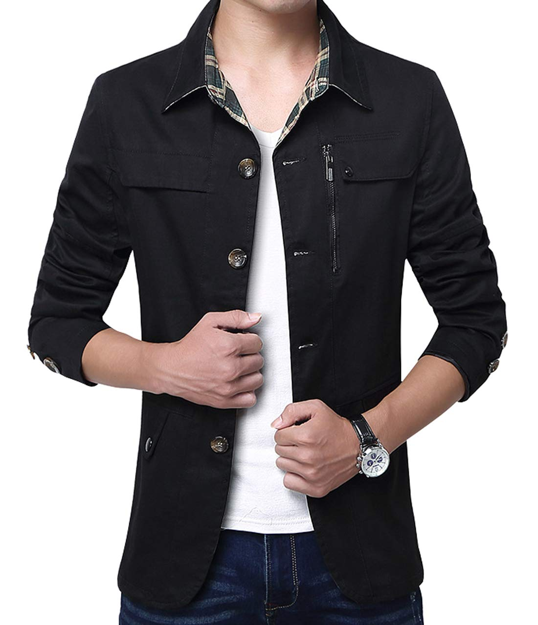 Coofandy Mens Slim Fit Blazer Lightweight Casual Solid Three-Button Solid Sport Coat