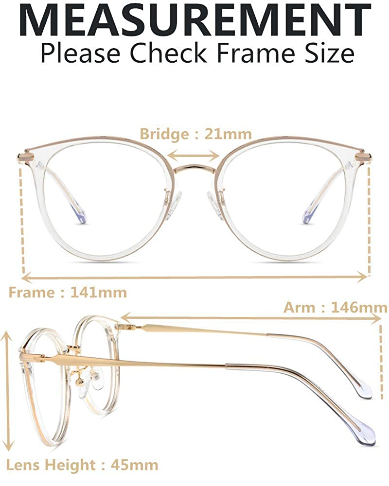 Firmoo Blue Light Blocking Computer Glasses,Round Oversized Anti Blue Light Glasses for Women Men