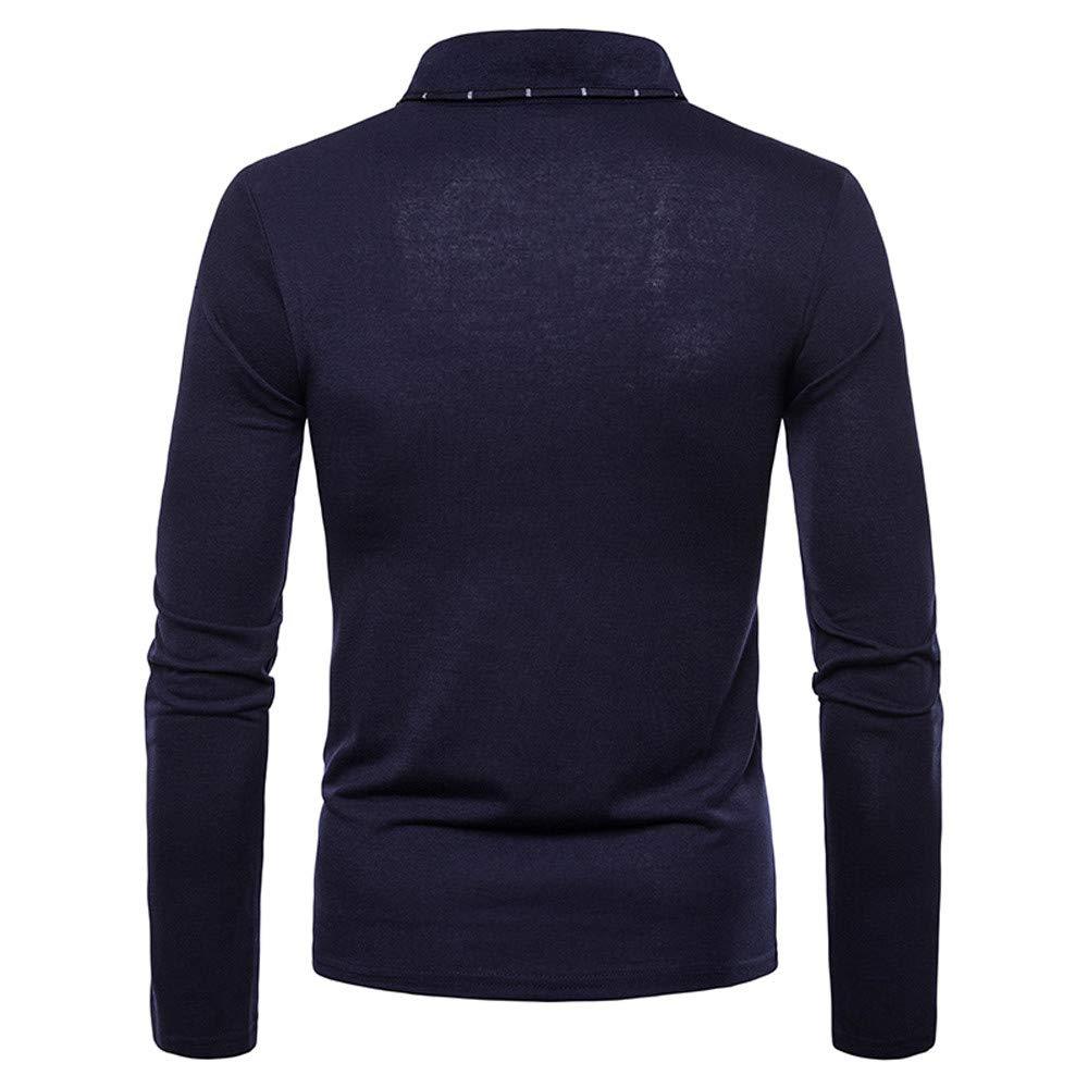 POQOQ T-Shirts Men Cotton Casual Patchwork Stripe Button Slim Fit Long Sleeve