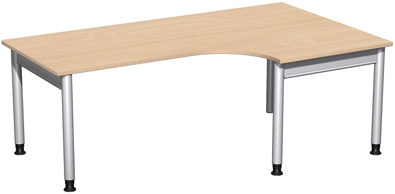 Geramöbel PC-Schreibtisch rechts höhenverstellbar, 2000x1200x680-820, Buche/Silber