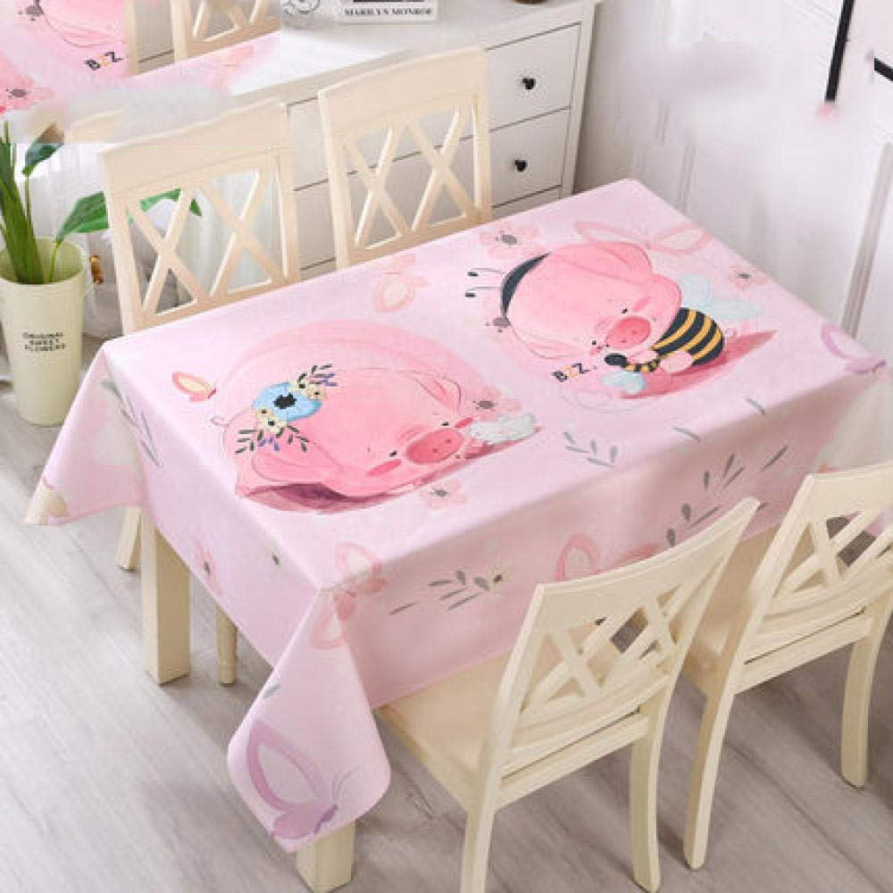 WJJYTX Plastic Table Covers Wipe clean,Square Modern/Protector Textile Backing Cartoon Bear-120 * 160_E
