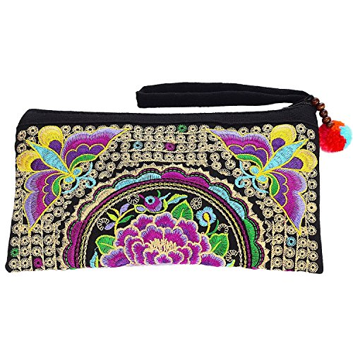 Sabai Jai - Smartphone Wristlet Bag - Handmade Embroidered Boho Clutch Wallets Purses ()
