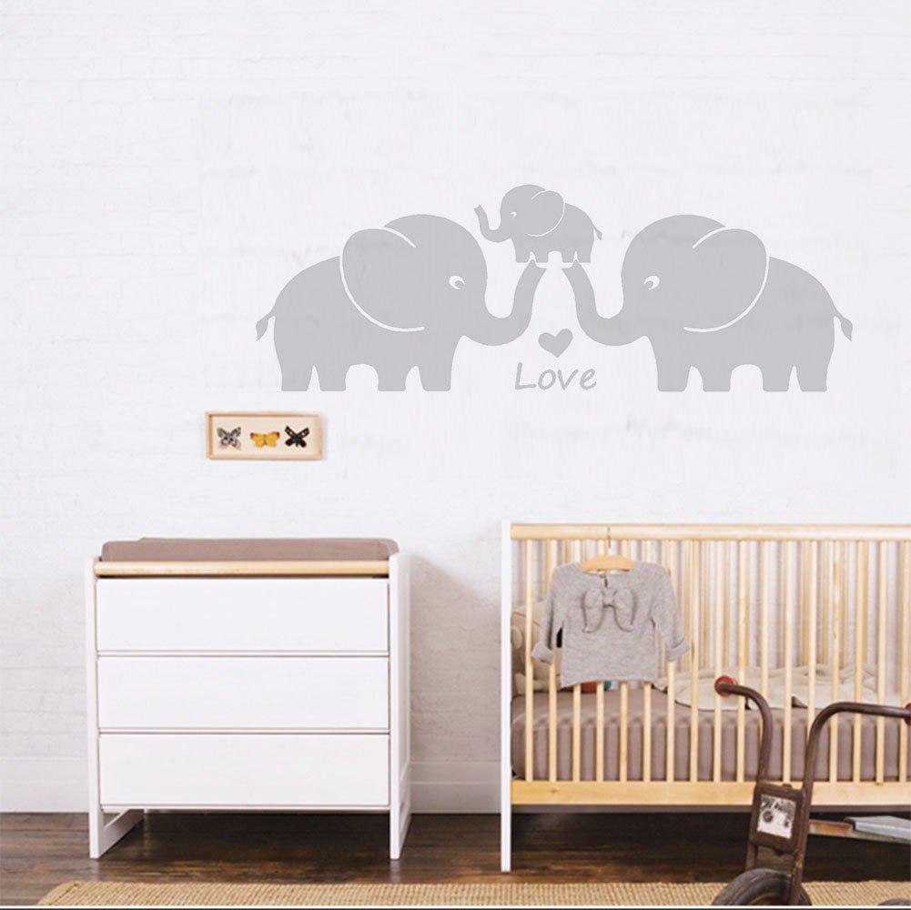 30/W x11.8 H gris Cute elefante familia con corazones pared dodoskinz la habitaci/ón del beb/é decoraci/ón habitaci/ón de los ni/ños pegatinas de pared