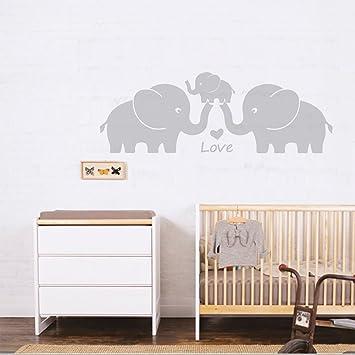 Mafent Elefanten Familie Mit Herzen Wand Aufkleber Baby Kinderzimmer