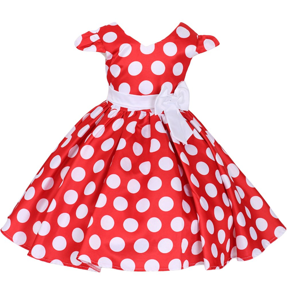 Girls Cap Sleeve Polka Dots Flower Princess Birthday Party Dress with Headband