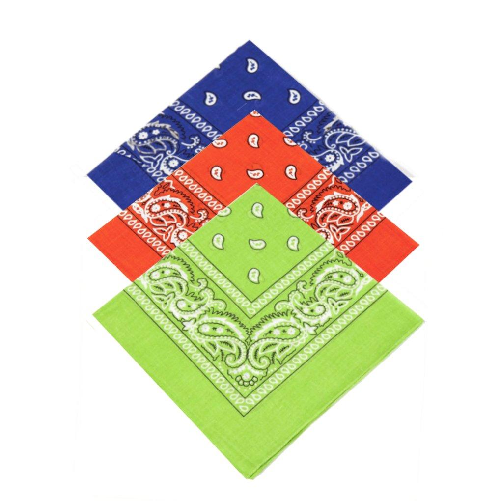 Set of 3 x Paisley Bandana Scarf / Neckerchief / Headscarf / Bandanna Headband for Men, Ladies, Kids, Boys & Girls Ideal 4 Dressing up, Partying, casual clothing(Royal Blue, Orange, [Light] Lime Green)