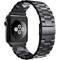 Simpeak Band Compatible with iWatch 38mm 40mm, Stainless Steel Wirstband Strap Replacement for iWatch Series 5 4 3 2 1, Black