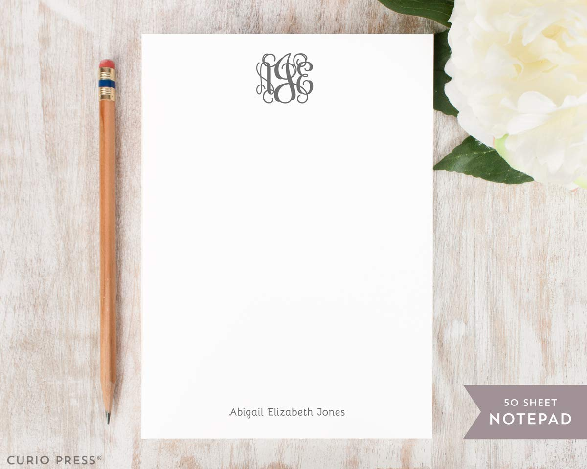 VINE MONOGRAM NOTEPAD - Personalized Traditional Stationery/Stationary Note Pad