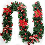 9ft Artificial Vine Christmas Hanging Garland, Holiday Pine Floral Flower Wreath Fir With Cones Red Berries Christmas Gift Box Ornament Balls Bows Tree Décor