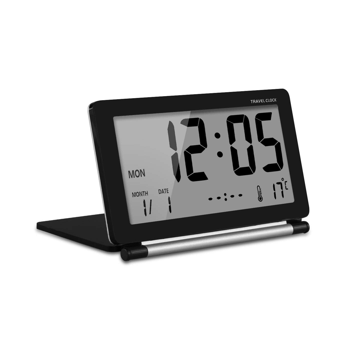 White CEEBON Travel Clock Folding Mini Silent Desk Travel Electronic Digital Alarm Clock/With Temperature Calendar Week Repeating Snooze and Big LCD Digital Screen for Home Office Travel