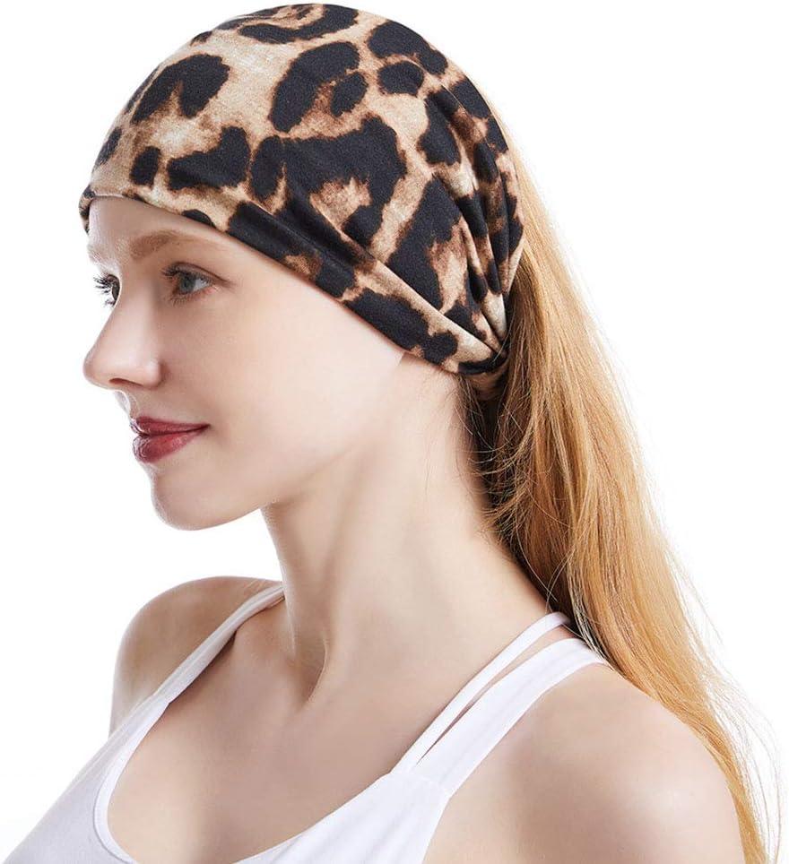 Sethain Sethain Boho Impression l/éopard Bandeau Coton Extensible Headwrap Croix Large 4 Pack Bande de cheveux pour les femmes et les filles