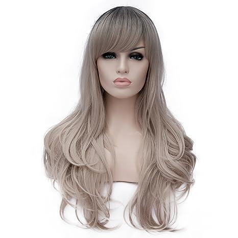 "CLOCOLOR 28"" 70CM Peluca sintética de pelo largo rizado para mujer cosplay fiesta peluca de"
