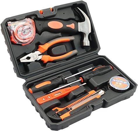 Kit de herramientas portátil de 8 piezas, con caja de herramientas, caja de almacenamiento y destornillador, martillo de prueba lápiz, juego de herramientas de mano perfet para bricolaje y reparación: Amazon.es: Hogar
