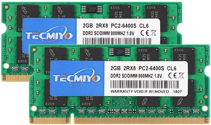 TECMIYO DDR2 PC2-6400 DDR2 800 4GB Kit (2x2GB) Non ECC Unbuffered 1.8V CL6 200-Pin Sodimm Laptop Memory Module