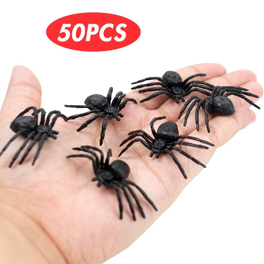 VGoodall Halloween Spinnen, 50 Stück Realistische Spinne Spider Spielfiguren Halloween Party Dekrotion Tischdeko