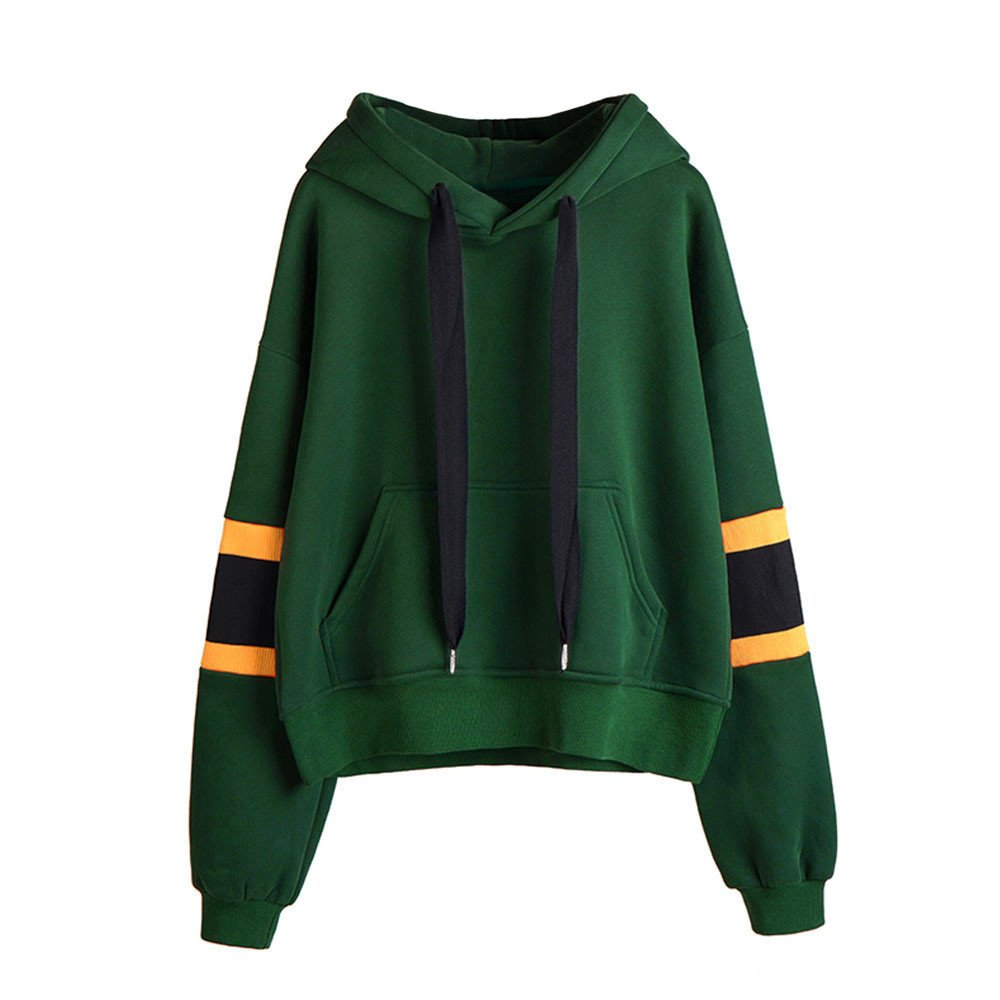 Zaidern Women Hooded Pullover Teen Girls Solid Color Long Sleeve Hoodie Sweatshirt Tops Blouse with Pockets