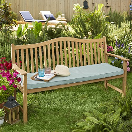 Mozaic Company Cottage Teak Bench Cushion with Sunbrella Fabric Antique Beige (Antique Sunbrella Beige Cushions)