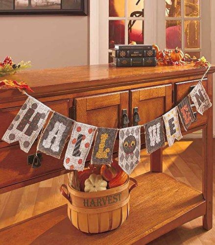Halloween Burlap Banner Mantle Fireplace Garland Haunted House Prop Tabletop Accent Decoration (Halloween Banner)