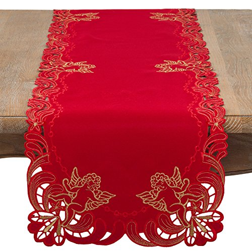 "SARO LIFESTYLE Embroidered Angel Cherub Design Table Runner, 16"" x 72"", Red"
