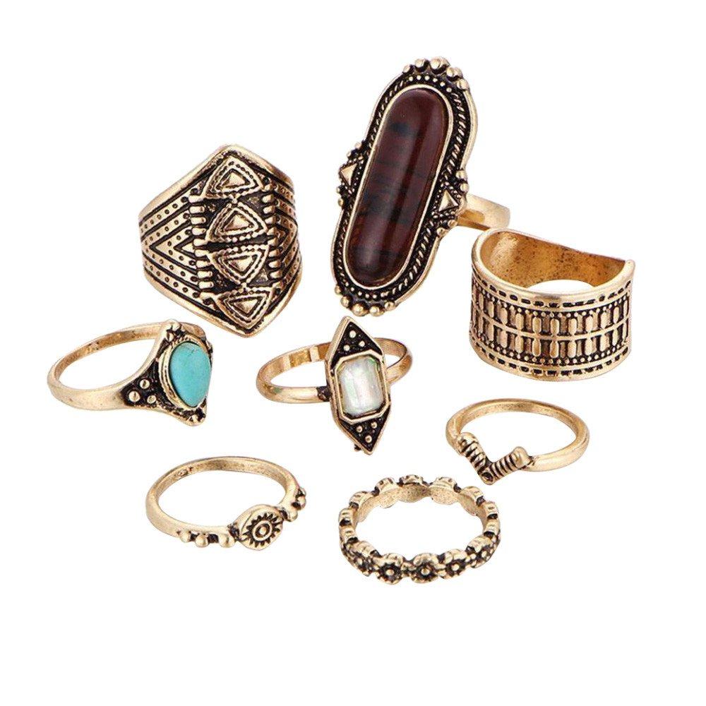 ManxiVoo Bohemian Ring Set 8PCS Vintage Women's Boho Crystal Flower Joint Ring (Gold, One Size)