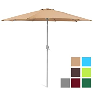Best Choice Products 9ft Outdoor Water/UV-Resistant Market Patio Umbrella w/Crank Tilt Adjustment, 180G Polyester, Wind Vent, 1.5in Diameter Aluminum Pole - Beige