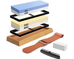 Sharpening Stone Whetstone Set 4 Side Grit 400/1000 3000/8000, Professional Whetstone Knife Sharpener, Knife Sharpening Stone