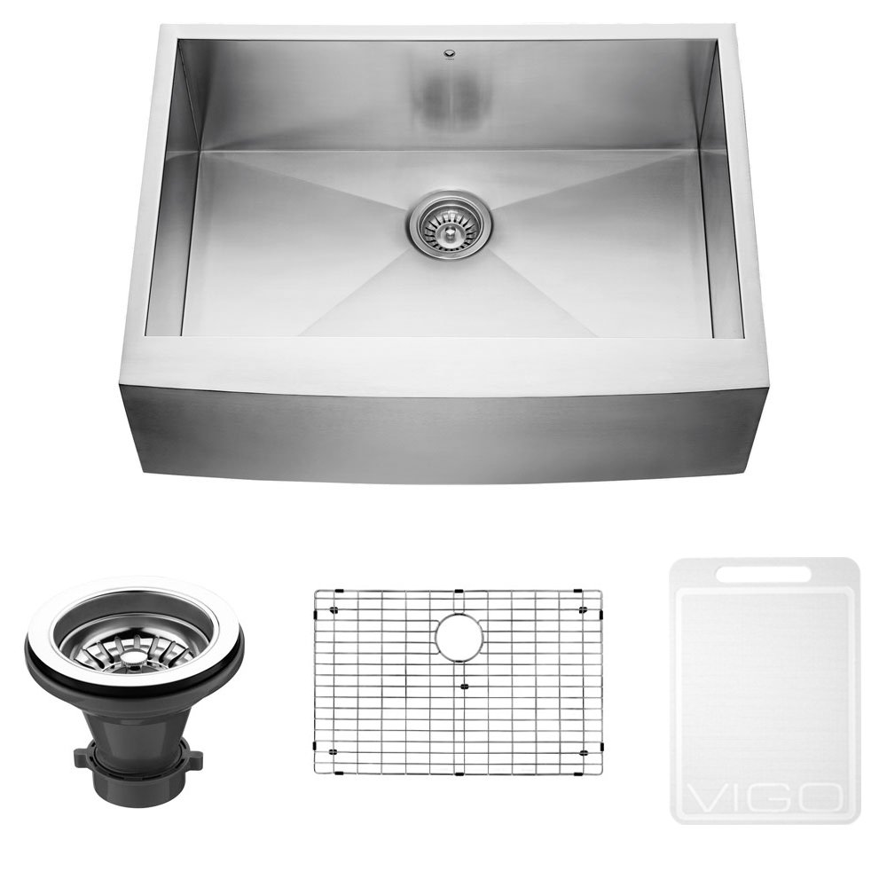 VIGO 30 Inch Farmhouse Apron Single Bowl 16 Gauge Stainless Steel Kitchen  Sink With Grid And Strainer   Single Bowl Sinks   Amazon.com