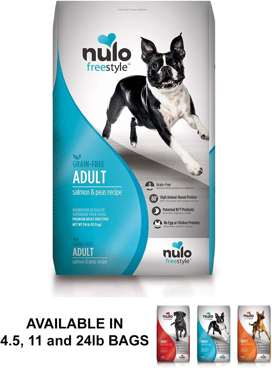 Nulo Adult Grain Free Dog Food All Natural Dry Pet Food for Large and Small Breed Dogs, Lamb, Salmon, or Turkey Recipe – 4.5, 11, or 24 lb Bag