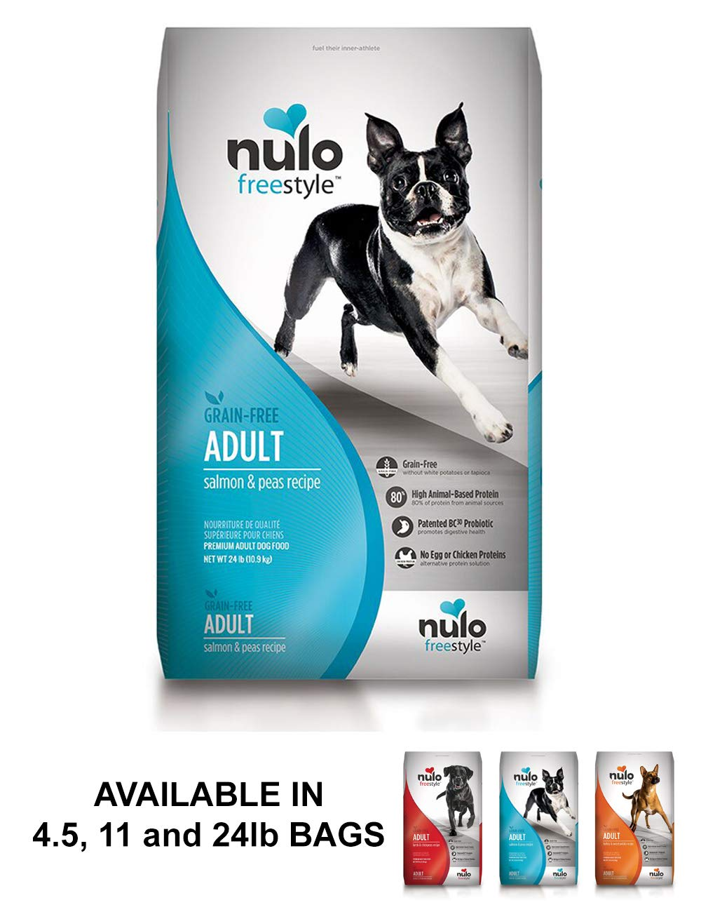 Nulo Adult Grain Free Dog Food: All Natural Dry Pet Food For Large And Small Breed Dogs (Salmon, 24Lb) by Nulo