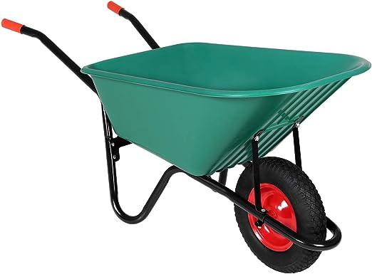 Monzana Carretilla Verde de 100L / 150 kg con rueda y agarraderos todoterreno jardin obras construcción herramienta: Amazon.es: Hogar