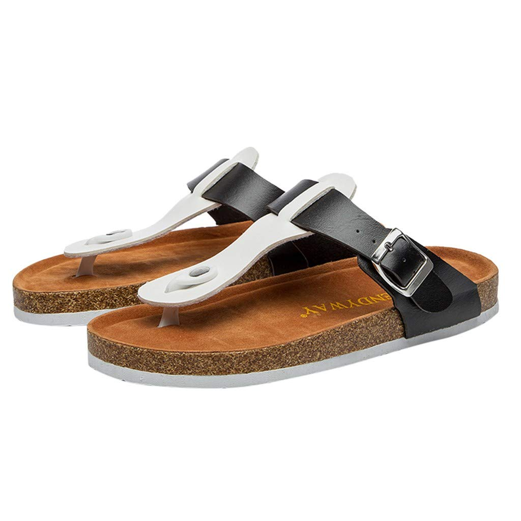 717c6ff8a0edb8 Amazon.com  TIFENNY Fashion Beach Slipper for Womens Fashion flip-Flops  Cross Toe Strap Flat Sandals Shoe Cork Slippers  Clothing