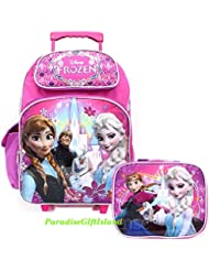 Disney Frozen Princess Elsa Anna 16 inches Rolling Backpack & Lunch Box Licensed Product