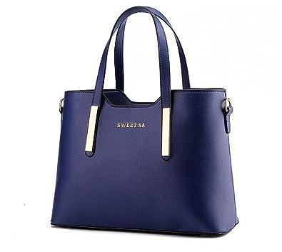 1367d196f2397 PIN Frauen PU Leder Henkeltaschen Schultertaschen Tasche Handtasche  Umhängetasche Damen (Blau)