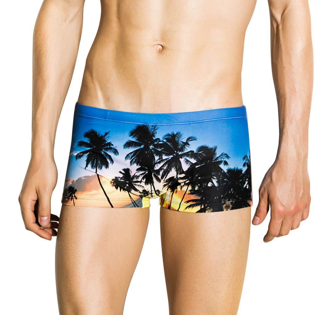 Women's Swimsuits Tankini Tronet Fashion Men Breathable Trunks Pants Beach Print Running Swimming Underwear Blue