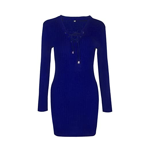 3e58176122bb8 Image Unavailable. Image not available for. Color  Hurrybuy Women Lace Up  Bandage Dress Deep V Neck Long Sleeve Bodycon Dress Blue
