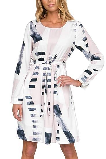 5e76cbb19e5b4a Women Dress Geometric Print Long Sleeve Round Neck Belted Dresses at Amazon Women s  Clothing store