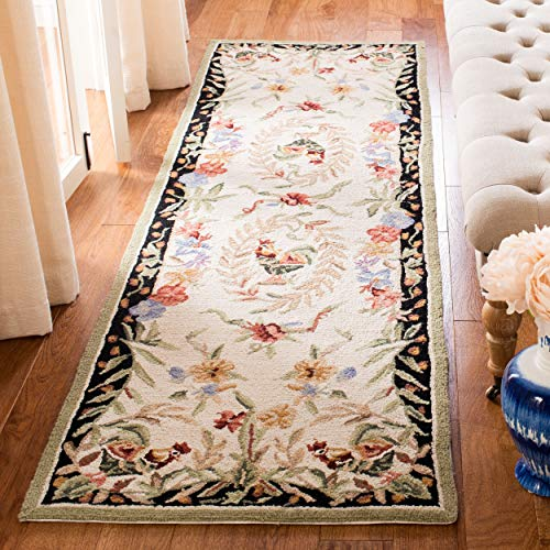 Safavieh Chelsea Collection HK92A Hand-Hooked Cream and Black Premium Wool Runner (2'6