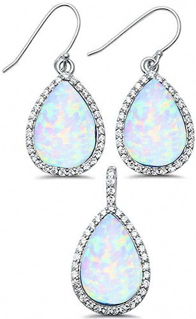 Halo Jewelry Teardrop Pear Created Opal Round Cubic Zirconia 925 Sterling Silver Choose Color