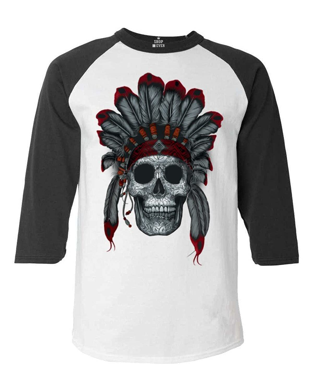 shop4ever ® Chief Headdressスカル野球シャツNative Americanラグランシャツ B01944PVXIホワイト/ブラック XL