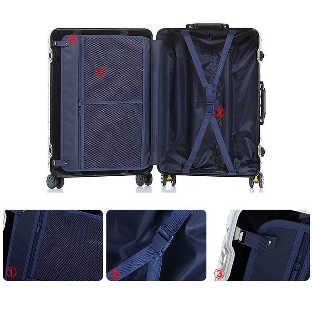 Color : Black, Size : 20 inches Male and Female Lightweight Aluminum Alloy Air Carrier Trolley Case Lock 4 Wheels CLOUD Luggage Sets Travel Suitcase