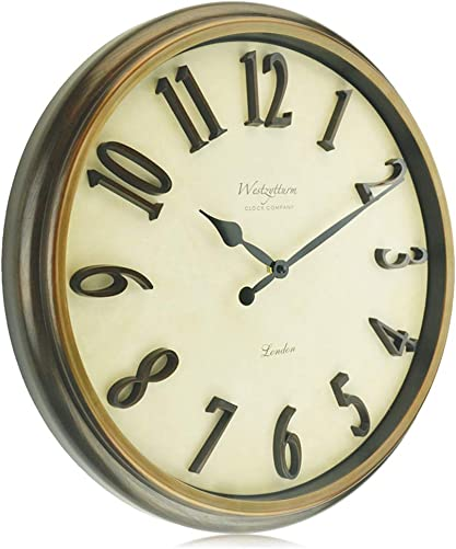Westzytturm Large Modern Wall Clock Silent Non-Ticking 18 inch 3D Numbers Decorative