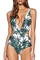 KAKALOT Women's Sexy Hollow Out Leaf Print Halter One Piece Swimsuit Monokini