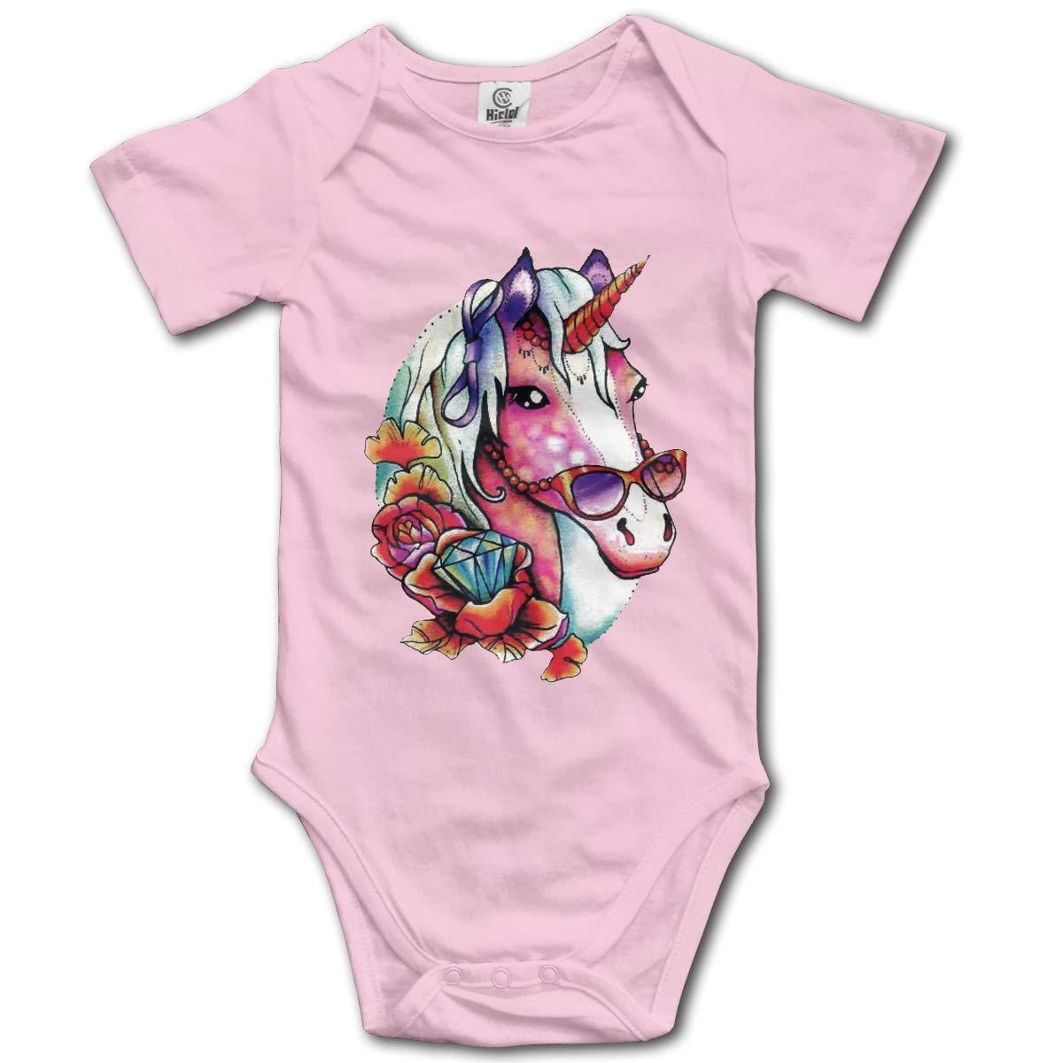 Unicorns with Sunglasses Newborn Infant Toddler Baby Girls Boys Bodysuit Short Sleeve 0-24 MonthsBlack