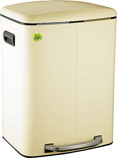 Made for us® 40 L Cremeweiss, Tret-Abfalleimer 2×20 L Mülleimer 2 Fächer für Küchen, 2-fach Mülltrennung m. 2 Inneneimern, 2er Müll-Trennsystem 40…
