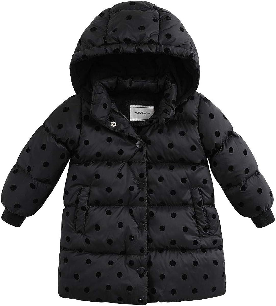 marc janie Girls Light Weight Long Down Jacket Packable Hooded Puffer Down Coat