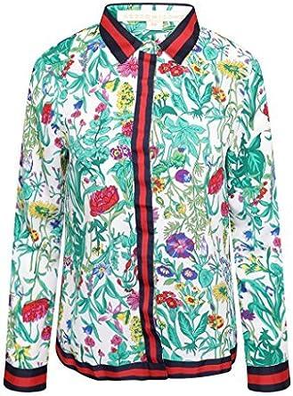Retro & Icone Mujer Gucci Inspirado Estampado Floral Camisa ...